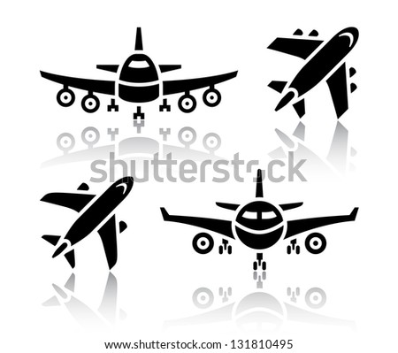 set of transport icons   plane