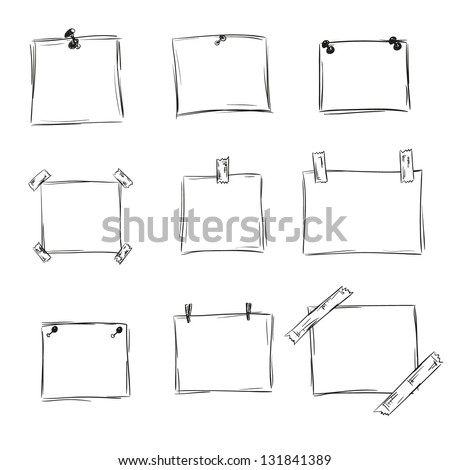 set of hand drawn paper notes