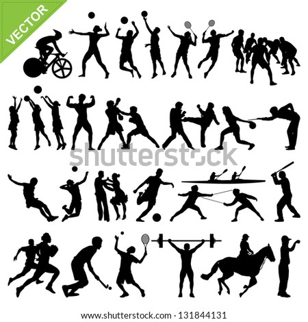 sport players silhouettes vector