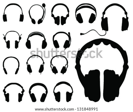 black silhouettes of headphones