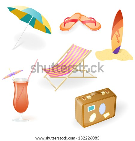 vector beach set from chaise