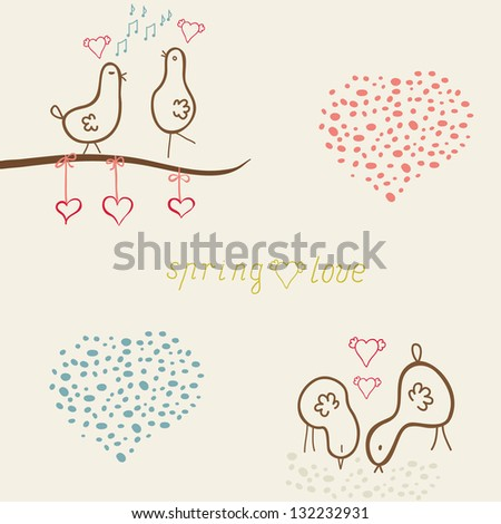 card whits cute funny birds