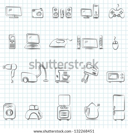 home appliances drawn icons set