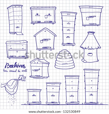 how to draw a bee hives