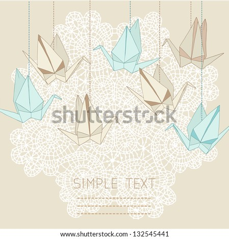 origami crane vector card with