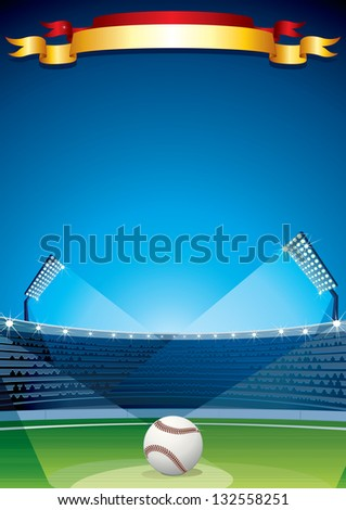 baseball stadium vector poster