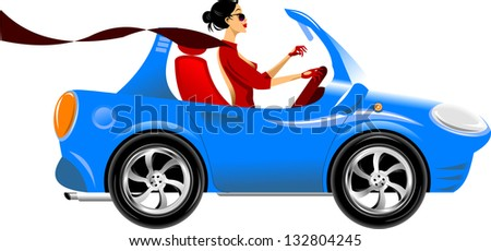beautiful woman driving a blue