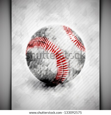 baseball ball in watercolor