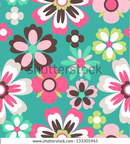 seamless spring retro flower