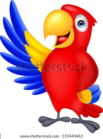 cute macaw cartoon waving