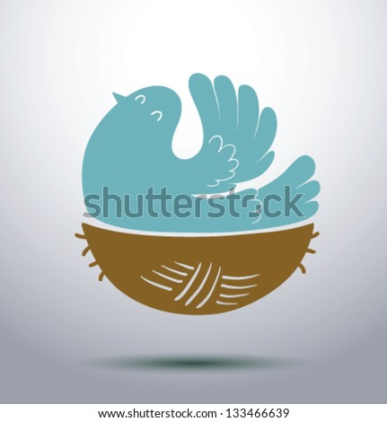 bird is in nest 01  vector