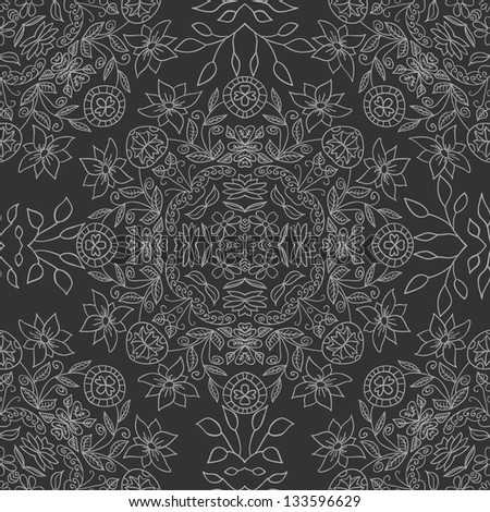 seamless hand drawn gray floral