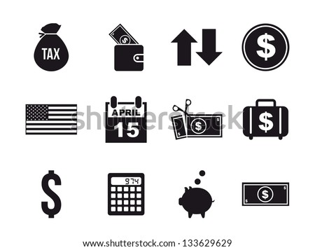 tax icons over white background