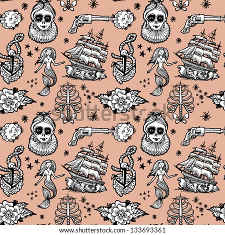 seamless pattern tattoo