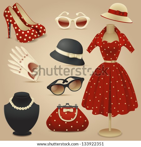 lady retro fashion accessories
