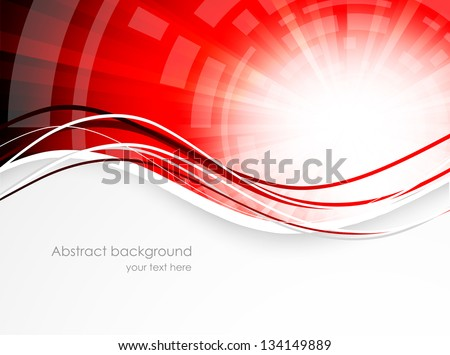 abstract wavy background in red