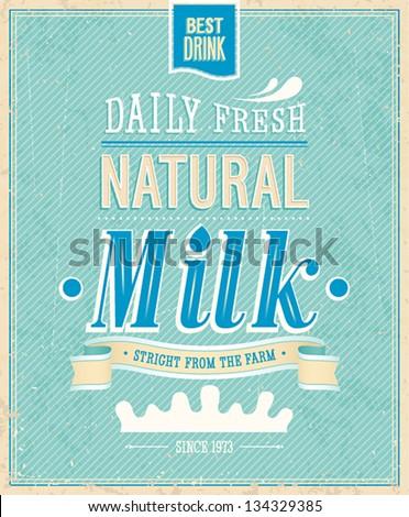 vintage milk card vector
