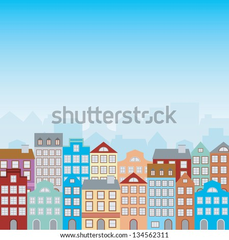 town houses in a retro style