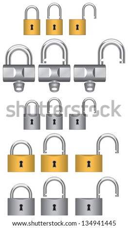 vector drawing padlocks brass