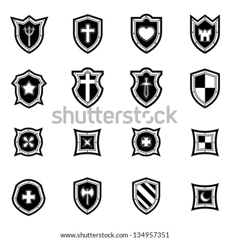 shield icon set black ...