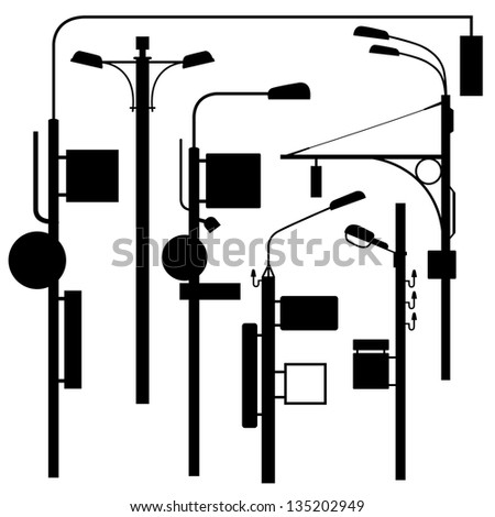 a set of urban electric posts