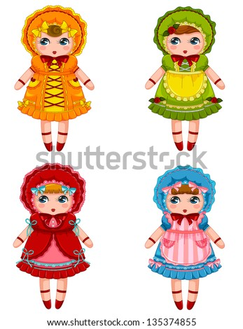 collection of cute dolls in