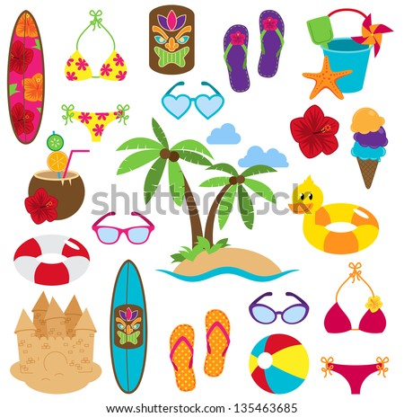 vector collection of beach and