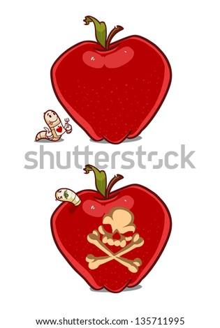 Cartoon apple with worm clip art free vector