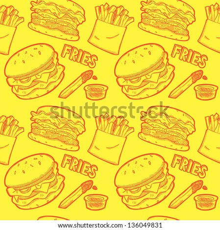 fast food wrapping paper pattern