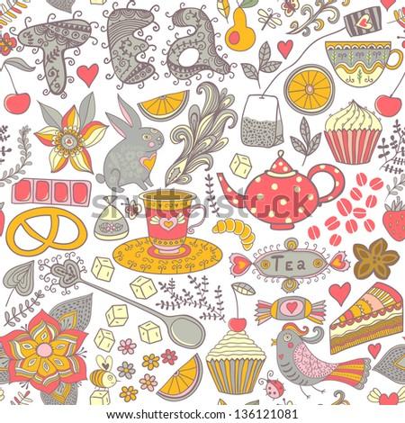 tea sweets seamless doodle