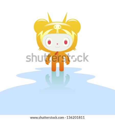atomic bear character in puddle
