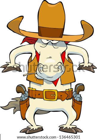 western cowboy horse on a white