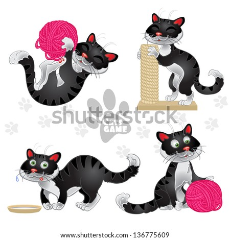 playful funny black cats in