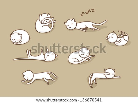 cute white doodle cats sleeping