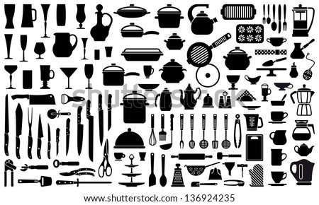 silhouettes of kitchen ware and