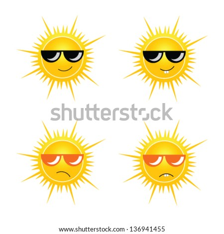 sun with sun glass vector