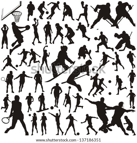 set of vector silhouettes of