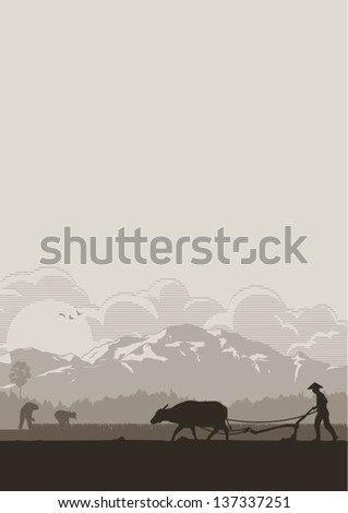 illustration of asian farmer