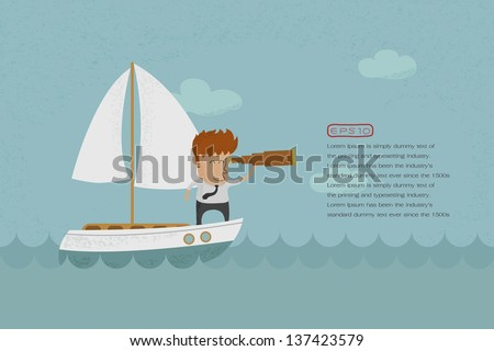business man sailing and
