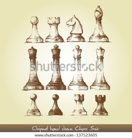 original hand drawn chess set