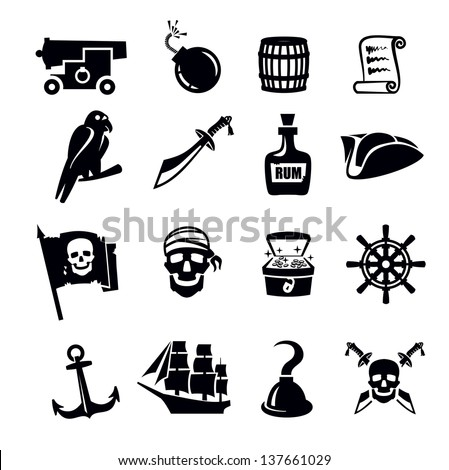 vector black pirates icon set