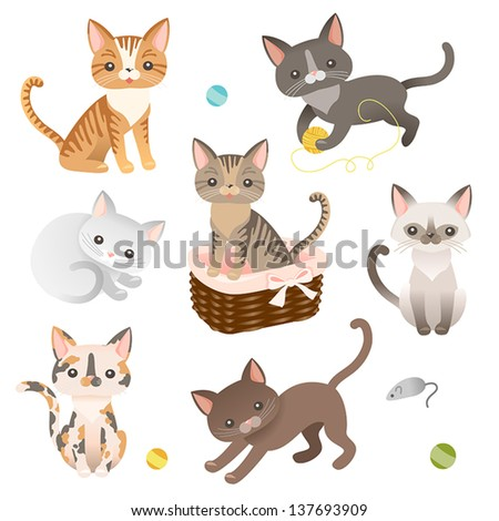 set of  cat characters cute