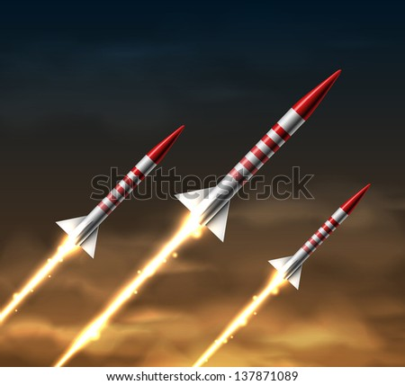 flying rockets in night sky