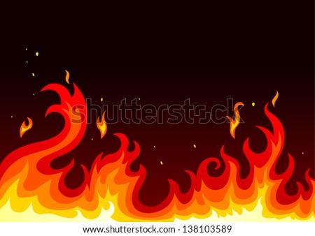 illustration of fire on dark