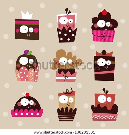 cute cupcake set  birthday