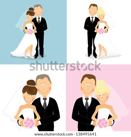 set of caucasian wedding couples