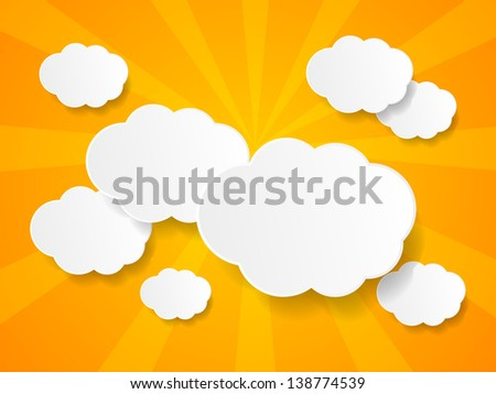 white paper clouds background