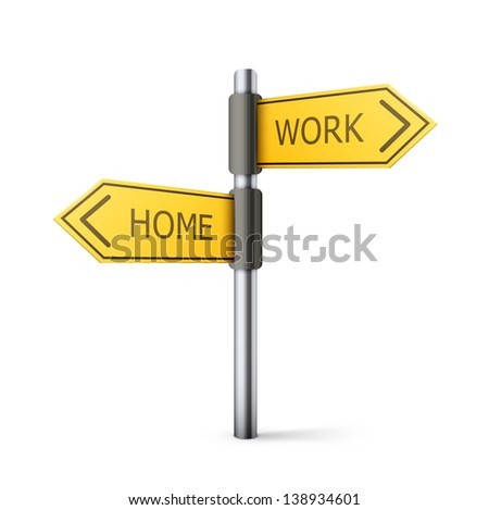 direction road sign with home