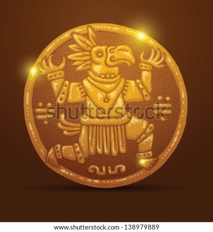 ancient gold coin 04  vector