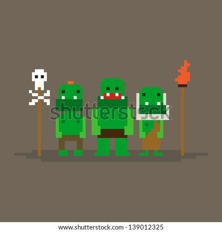 three pixel art orcs posing